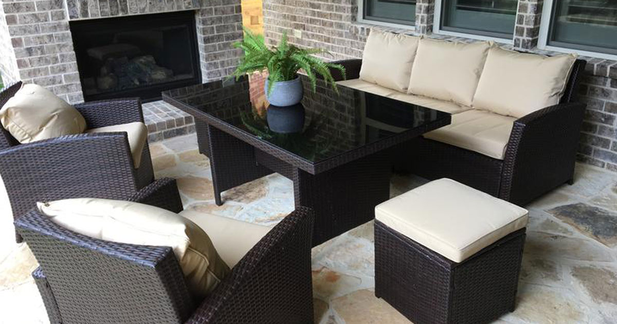 6 piece outdoor wicker dining set staged
