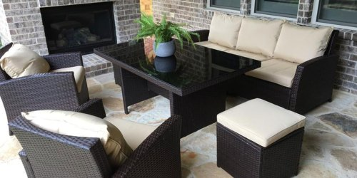 6-Piece Outdoor Patio Wicker Sofa Dining Set Just $499.99 Shipped (Regularly $1,500)