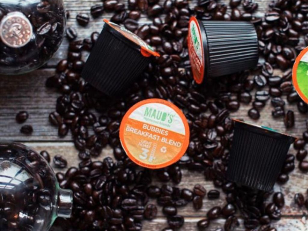 mauds bubbies breakfast blend pods with coffee beans