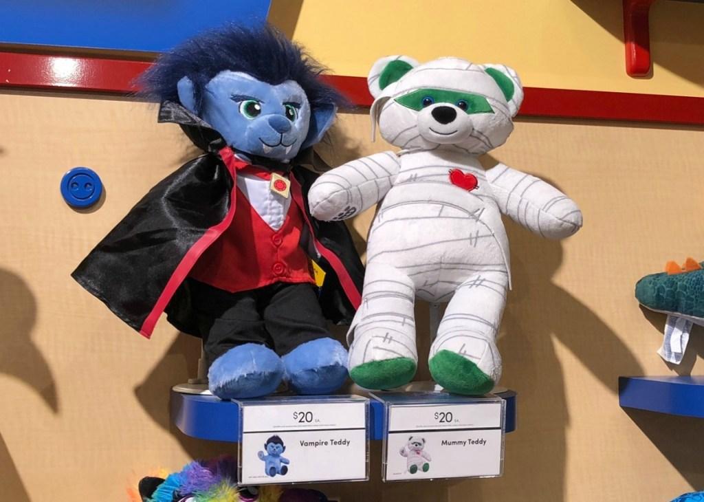 build-a-bear halloween mummy teddy bear and werewolf in store