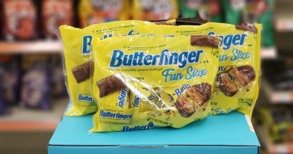three bags of Butterfinger fun size candy