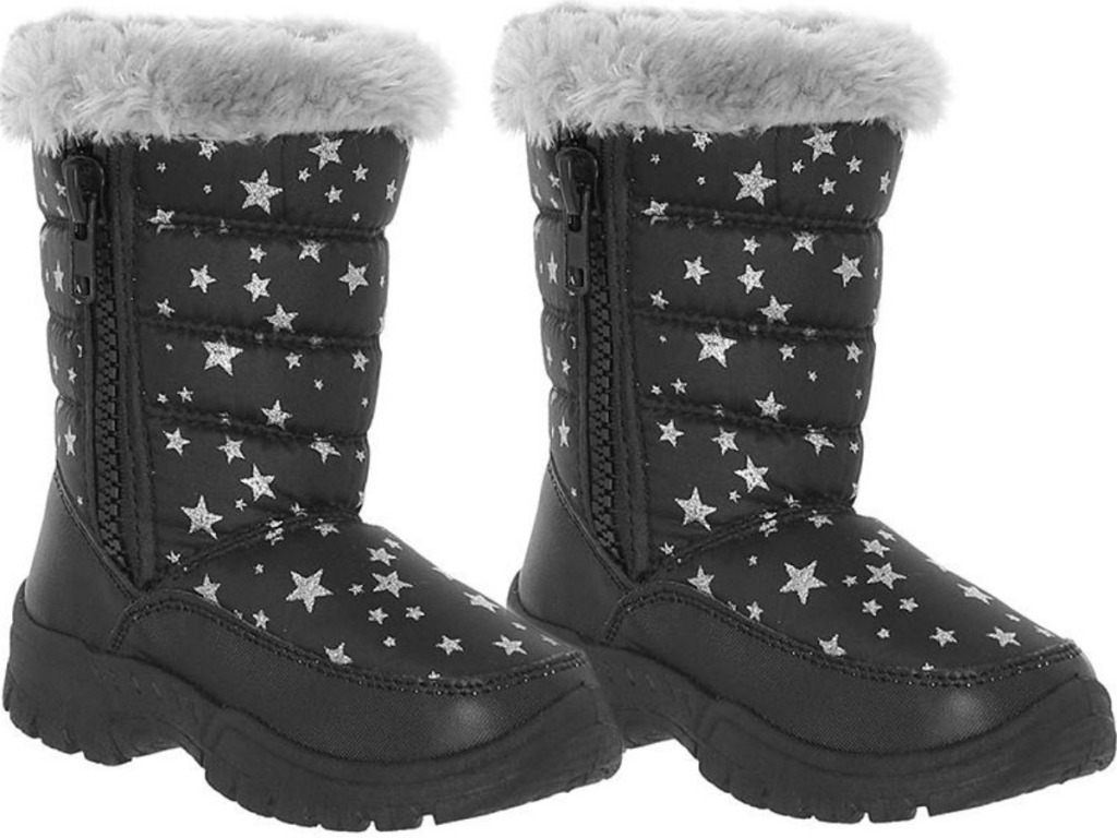 pair of black snow boots with stars on them