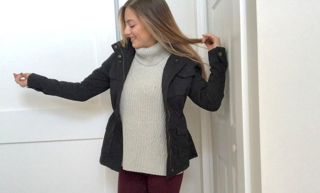 woman wearing amazon jacket and sweater