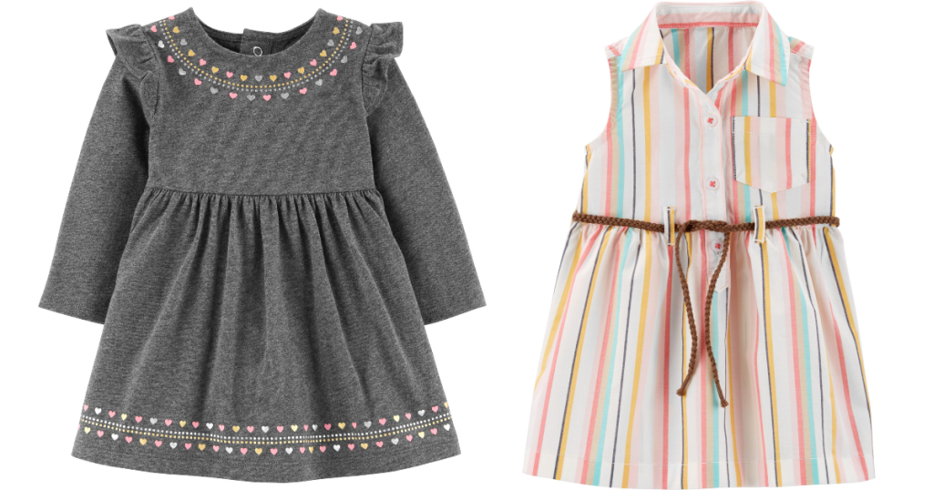 grey and striped girls dresses