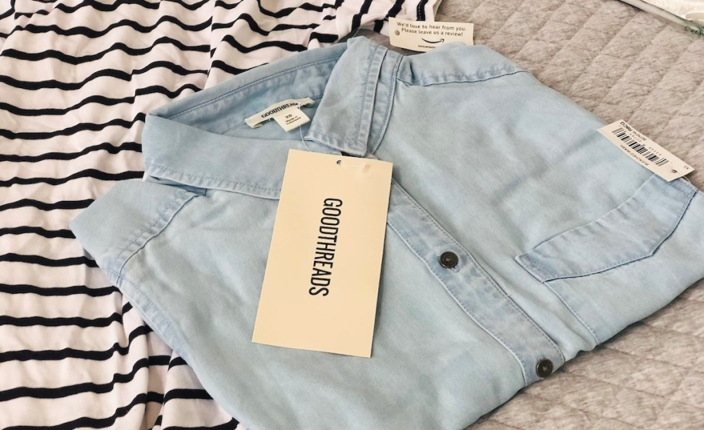 blue chambray shirt with goodthreads tag