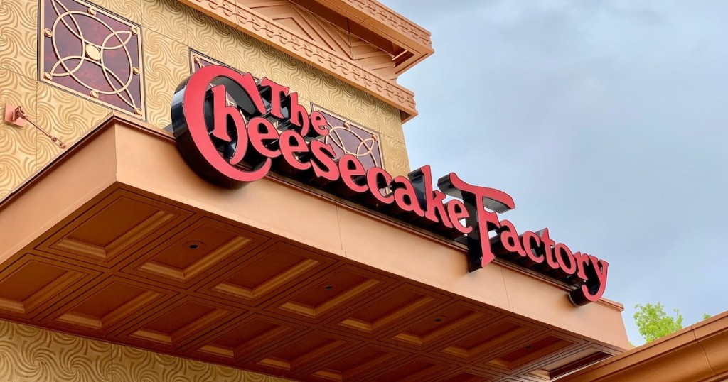outside of cheesecake factory sign