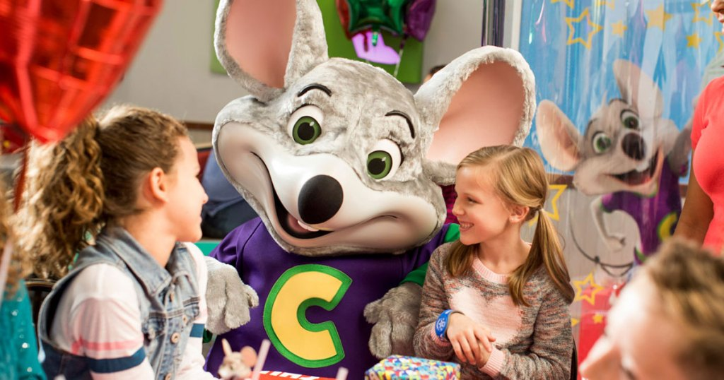Chuck E. Cheese mouse and kids