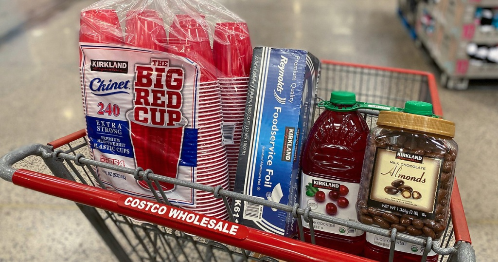 costco shopping cart with items