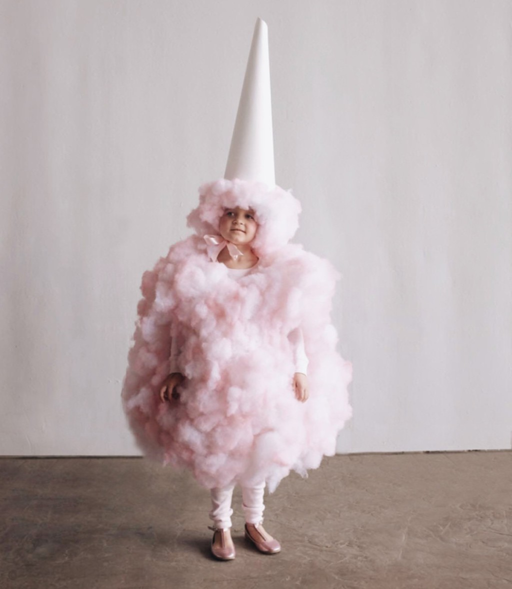 kid wearing pink cotton candy costume