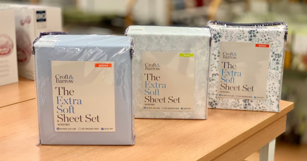 croft & barrow the extra soft sheet sets displayed in store