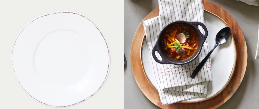 two white dinner plates with food and silverware on top