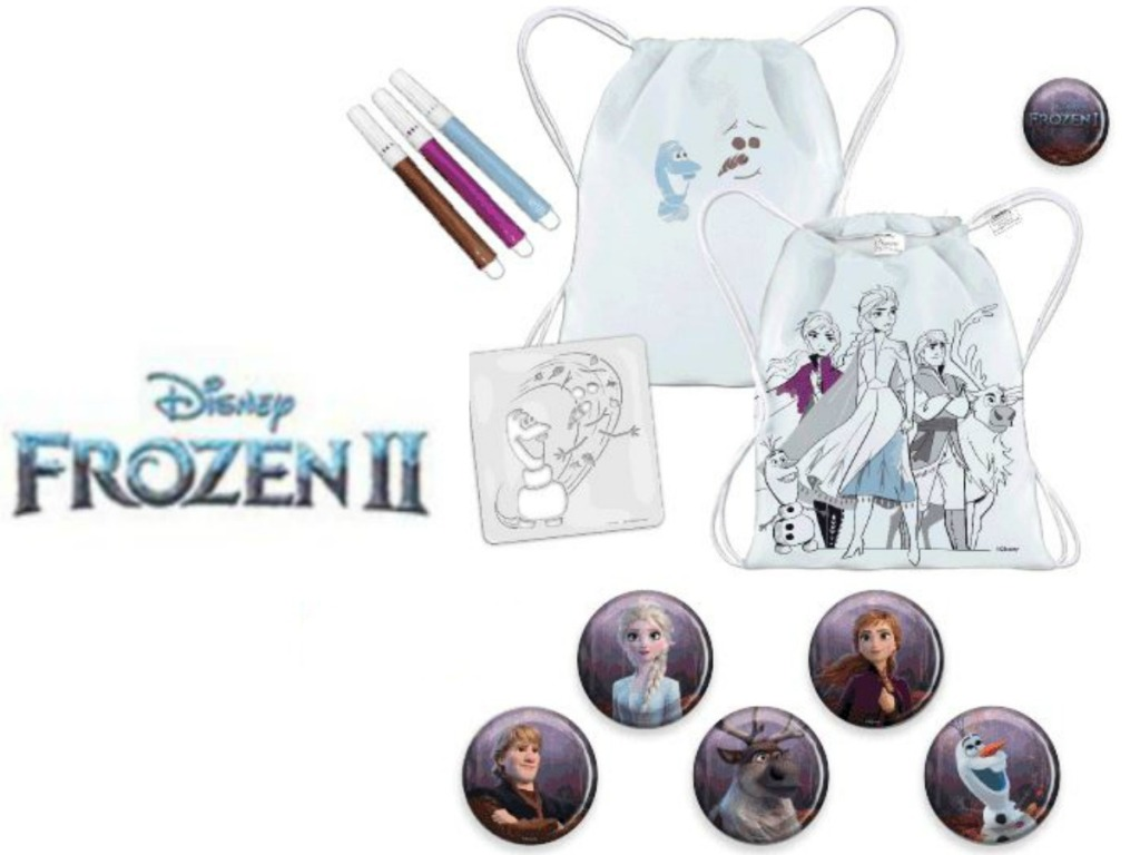 art supplies for disney kids movie and cinch sack