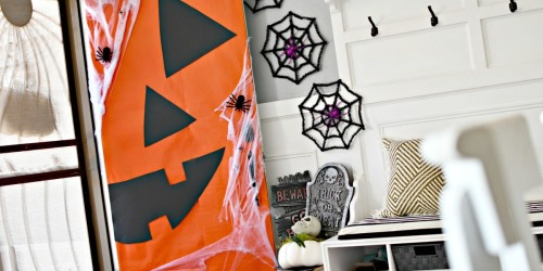 DIY Dollar Tree Jack-O-Lantern Halloween Front Door Decor