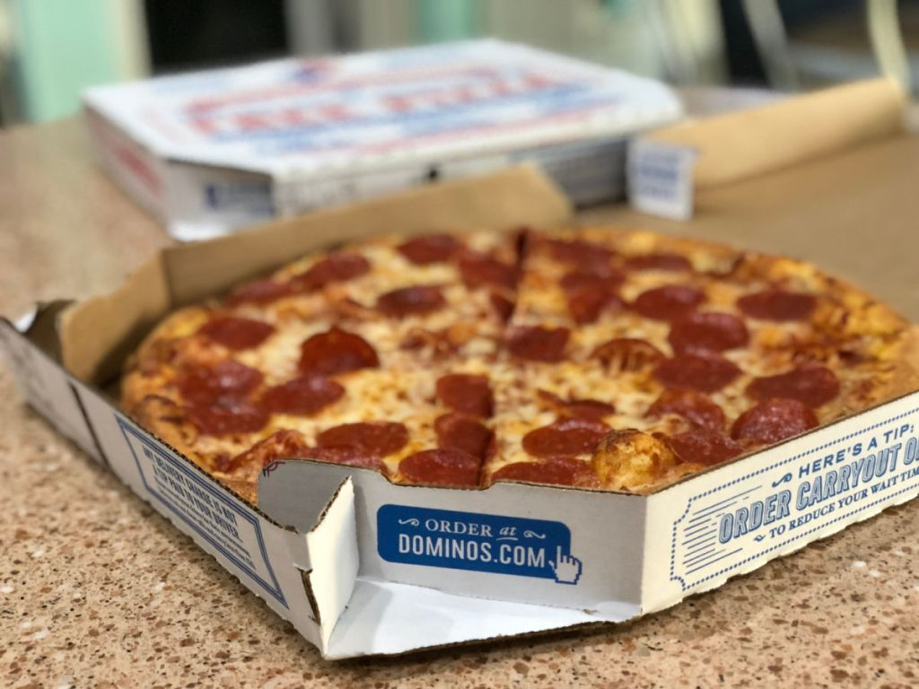 dominos pepperoni pizza in box