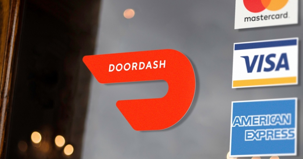 Doordash and credit card logos on doors