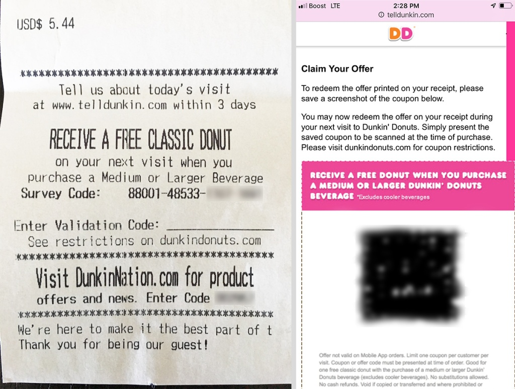 receipt and mobile app screenshot from dunkin donuts