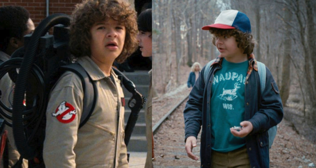 side by side of ghostbusters costume and dustin stranger things
