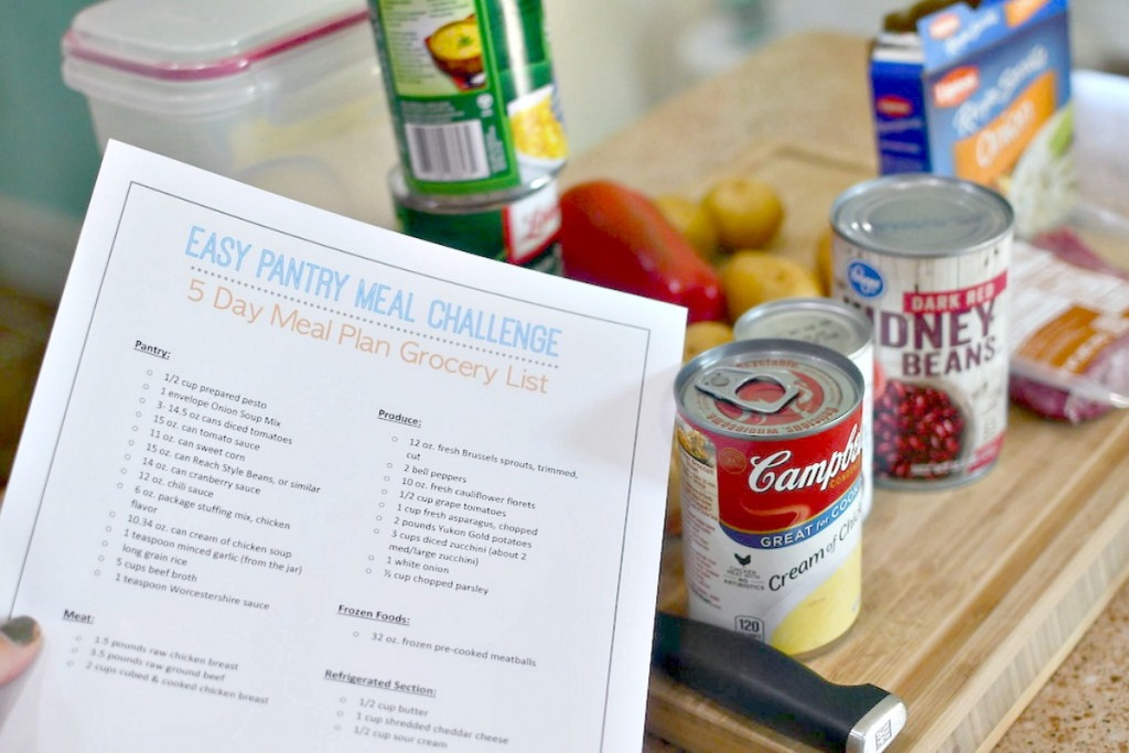 easy pantry printable meal plan