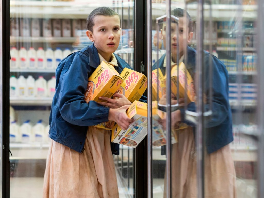 Eleven from Stranger Things with Eggo Waffles