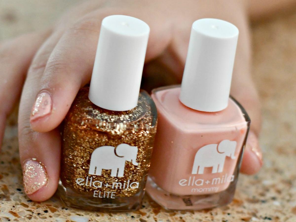 Two shades of ella + mila nail polishes