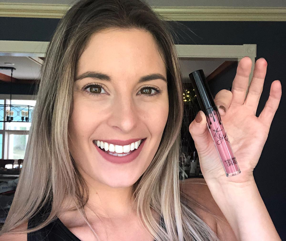 Emily with Kylie Cosmetics lip stick