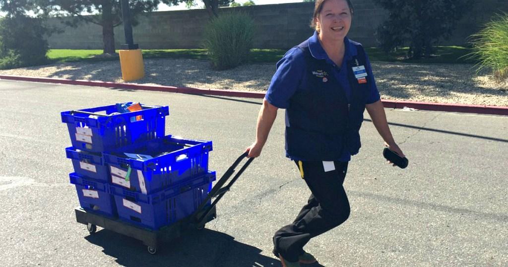 employee delivering Walmart Groceries