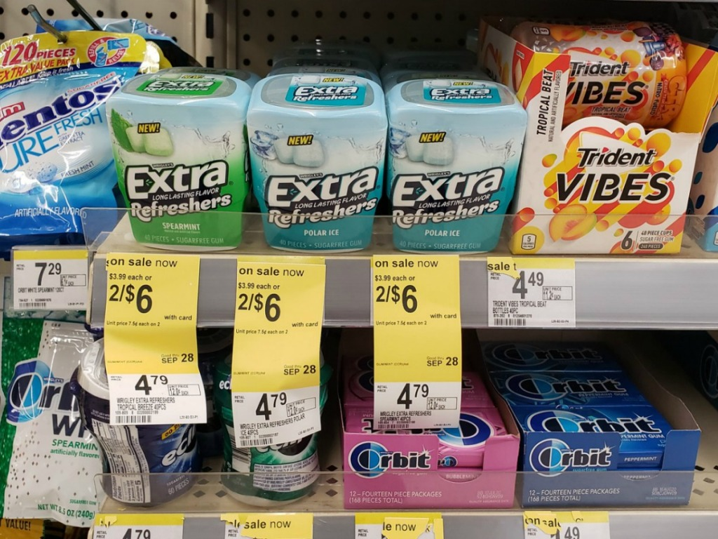 extra gum refreshers on store shelf
