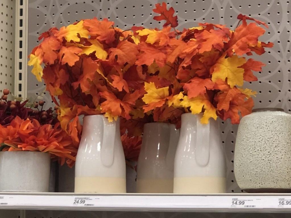 "19"" x 9"" Artificial Oak Leaves Arrangement in Ceramic Pot Orange/Yellow"