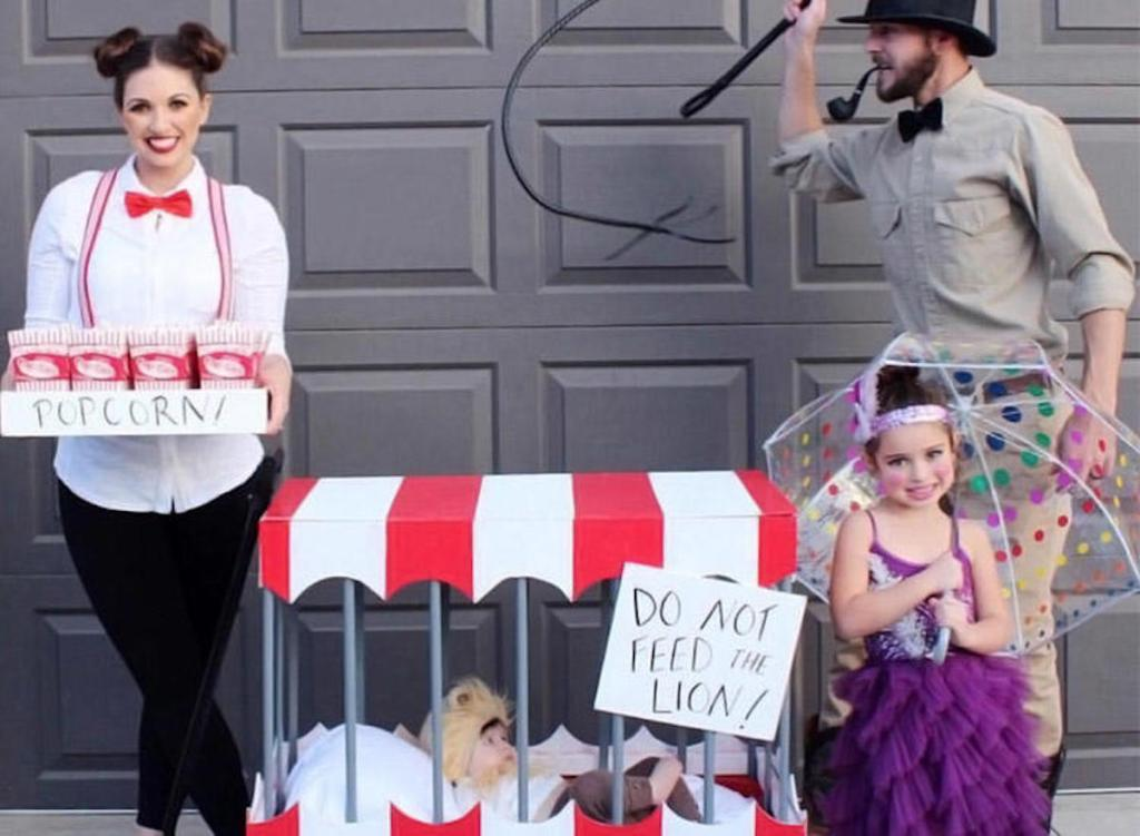 family dressed up in circus costumes