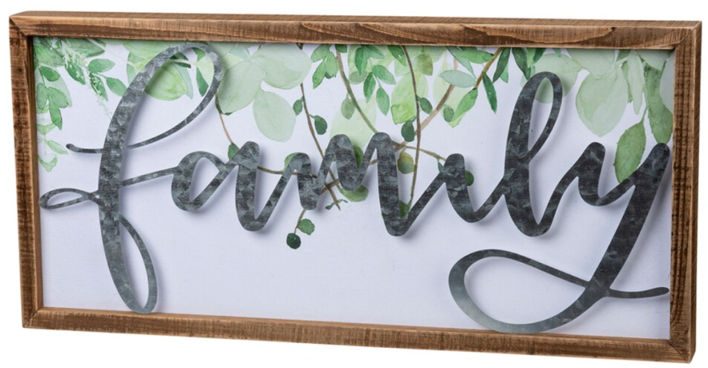 family leaf art wall sign