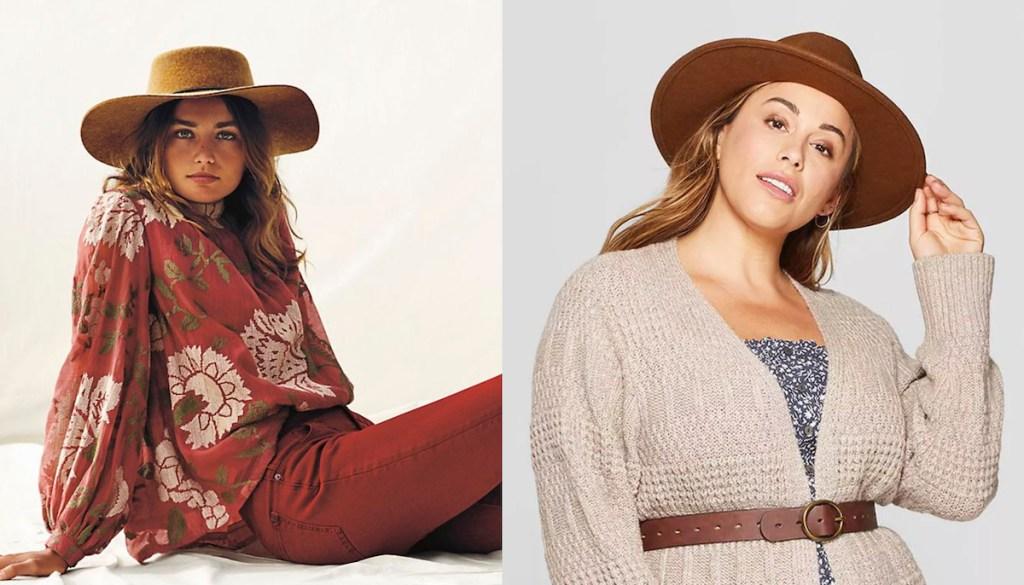 two women wearing brown felt hats