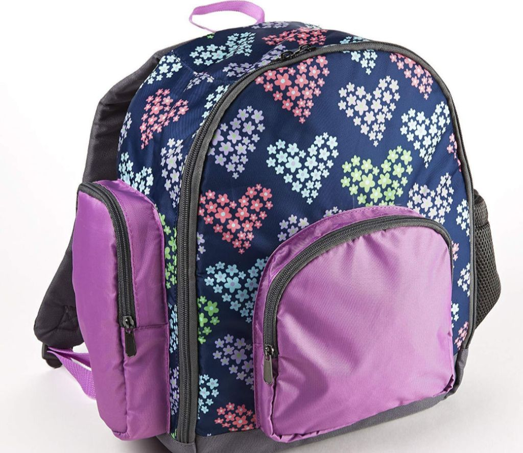 multi-colored backpack with flower hearts