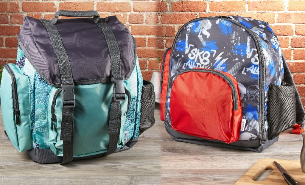 two Fit & Fresh backpacks with a brick backround