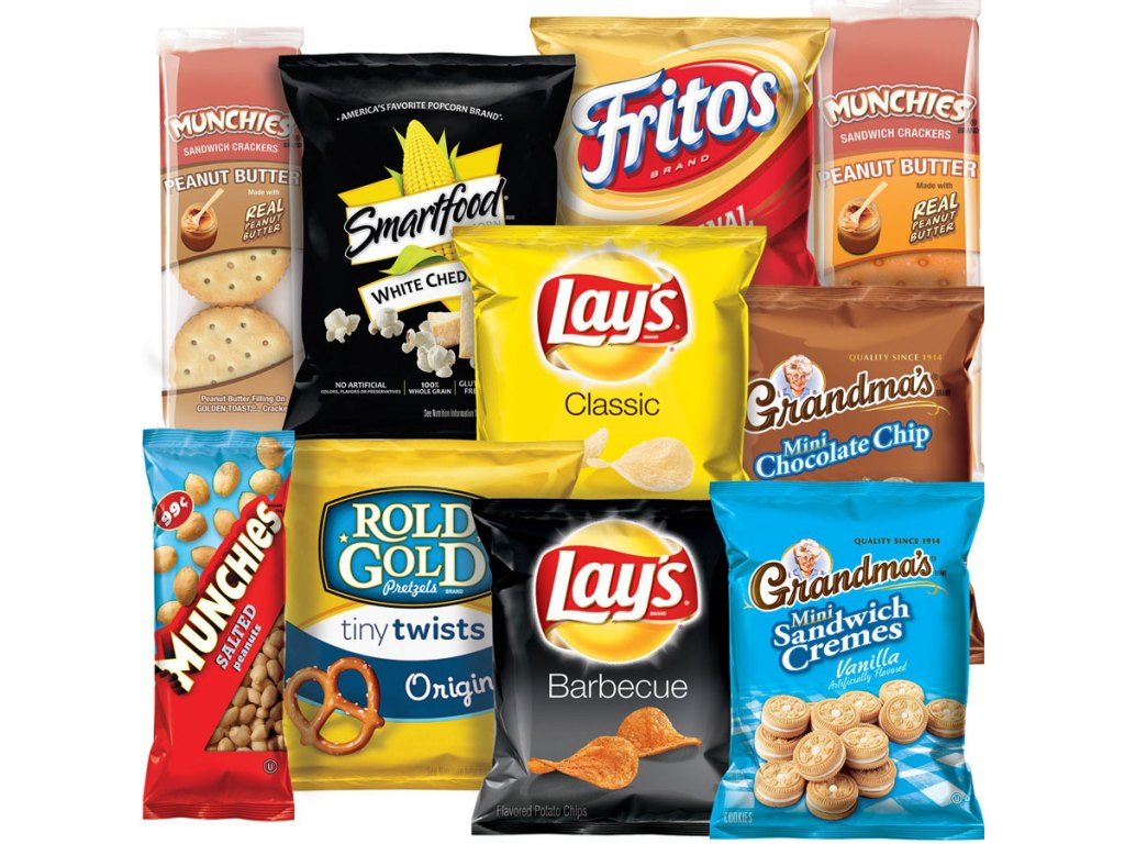 stock image of frito-lay sweet and salty snack items