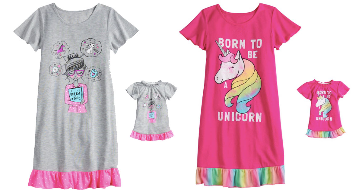 kohls dorm nightgowns for girls with matching doll nightgowns