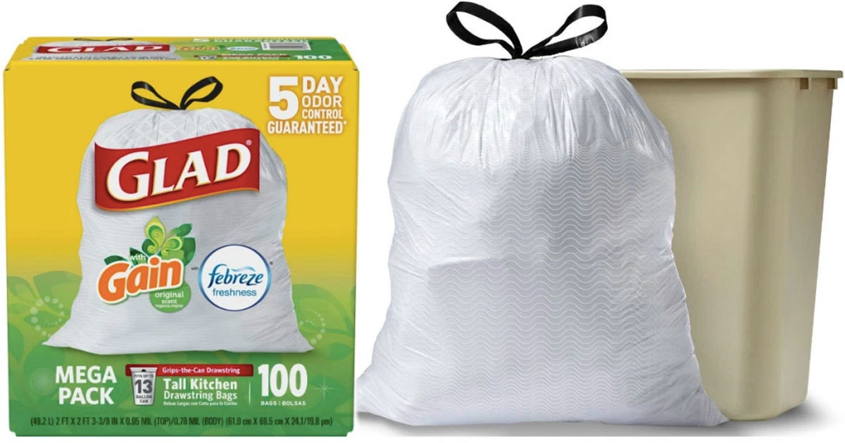 glad trash bag box of 100 count next to full garbage bag and can
