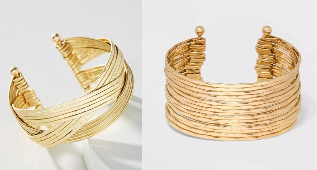 two gold cuff bracelets