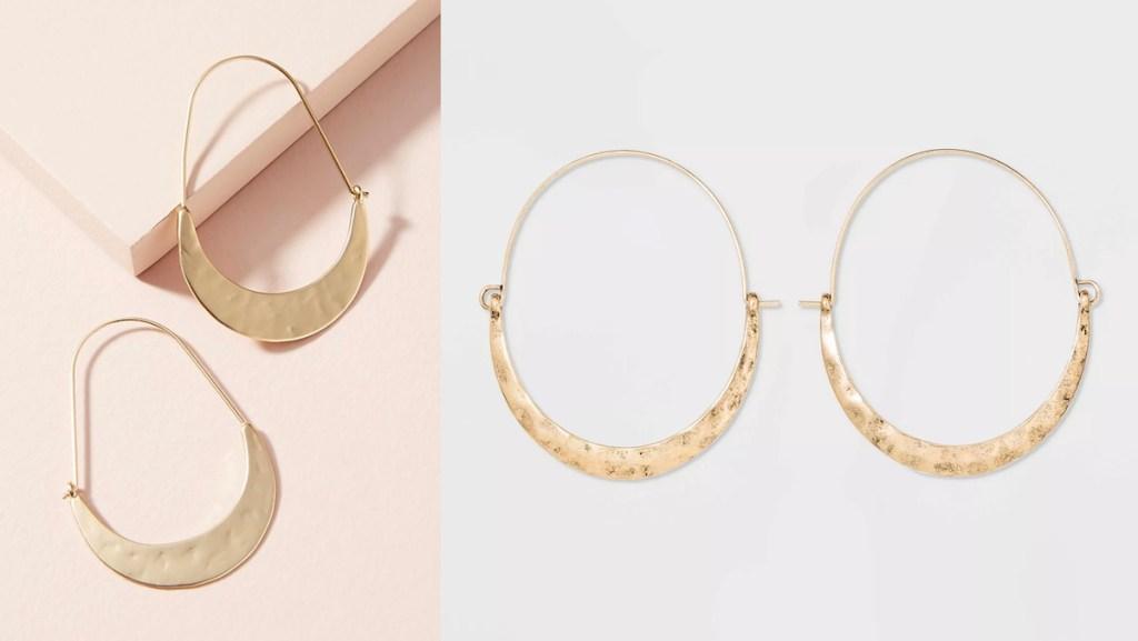 two pairs of gold hoop earrings