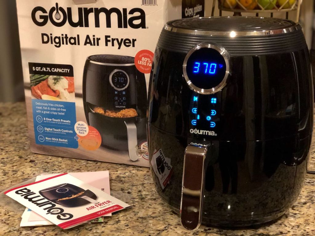 gourmia air fryer sitting on counter with box