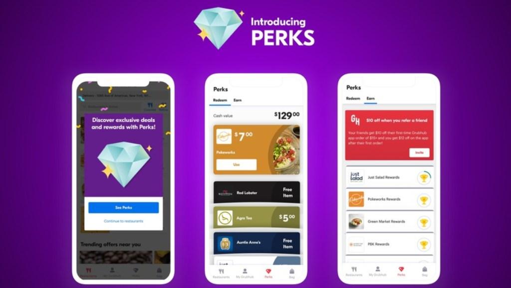 GrubHub App showing Perks program