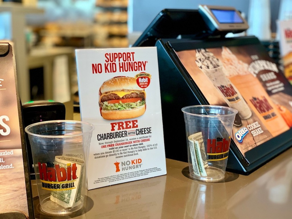 habit burger donation sign