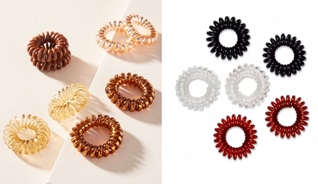 black brown and clear coiled hair ties