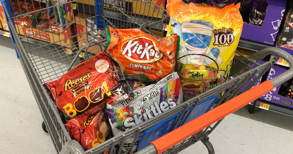 Halloween candy in a shopping cart