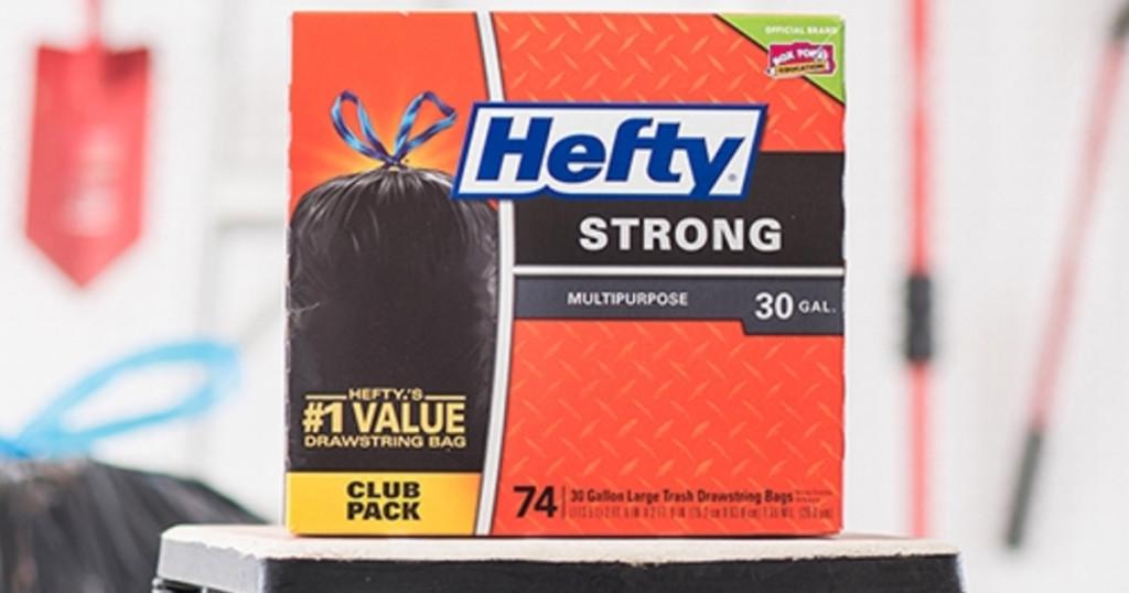 box of hefty strong black trash bags