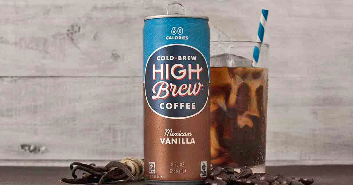 can of cold brew high brew coffee mexican vanilla with glass of ice