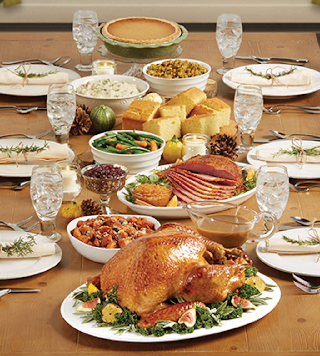 marie callender's holiday thanksgiving day meal on table