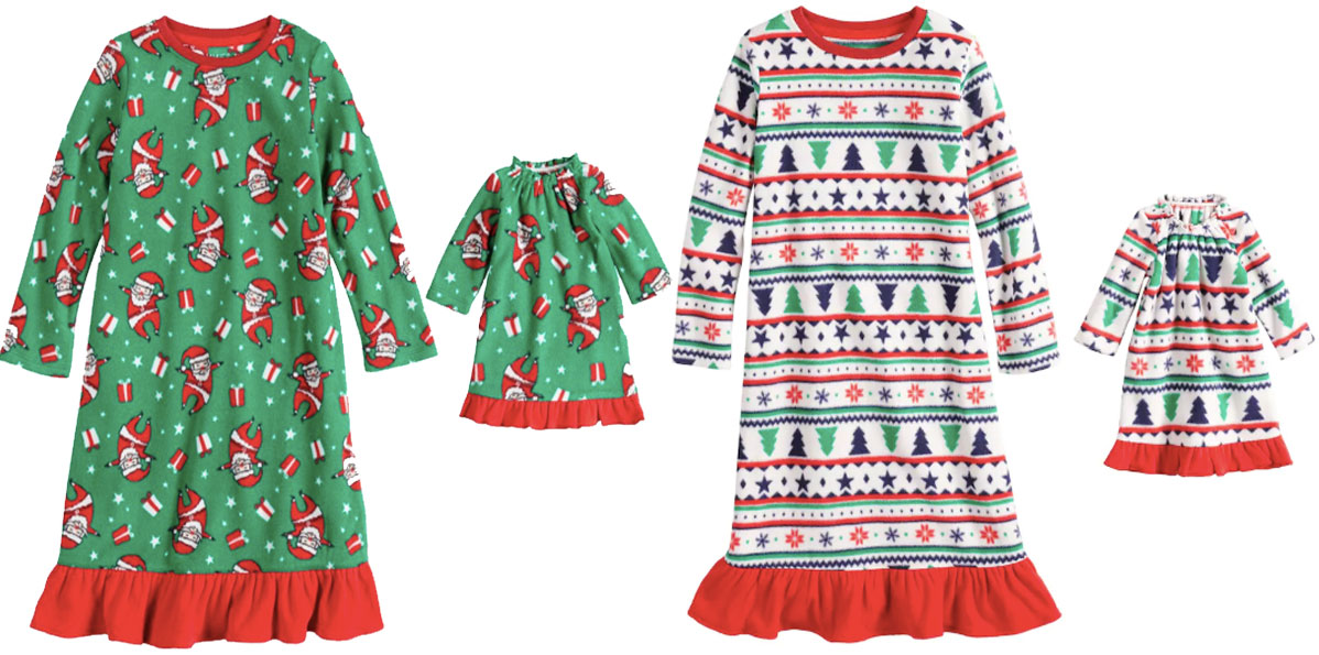 kohls toddler girls night gowns with matching doll