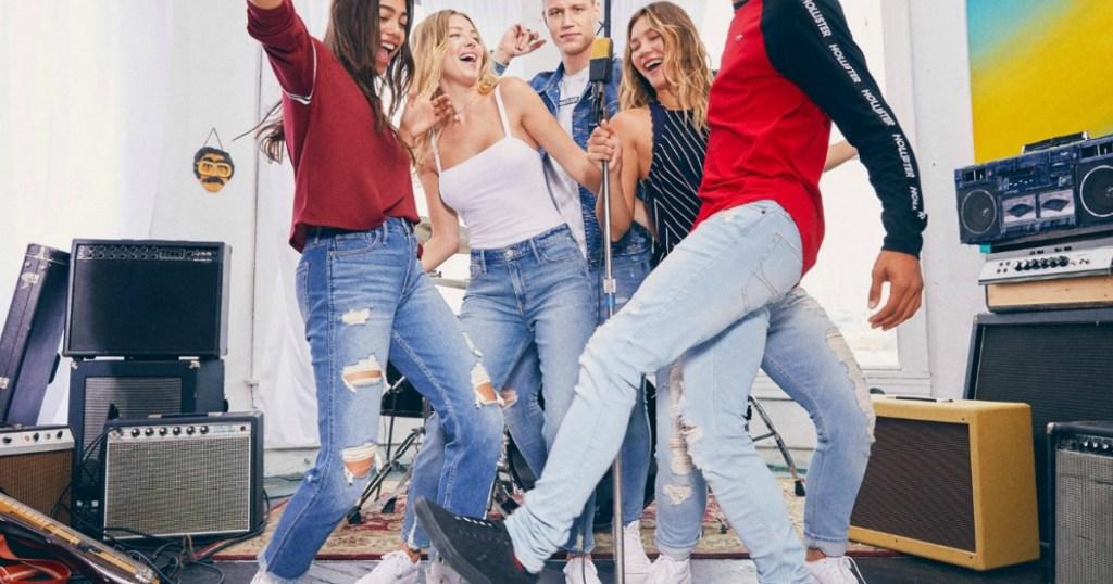 teens wearing hollister jeans