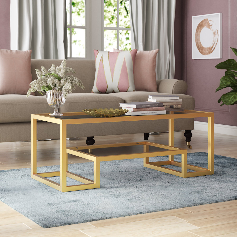 imel glass and brass coffee table