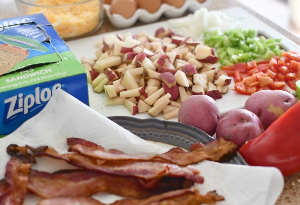 ingredients for make-ahead breakfast burritos